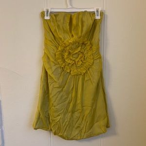 Aryn K Yellow Green Strapless Dress Size Medium